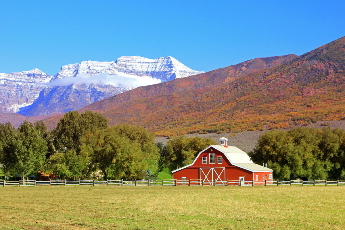 sprawling utah ranch property with iconic red barn