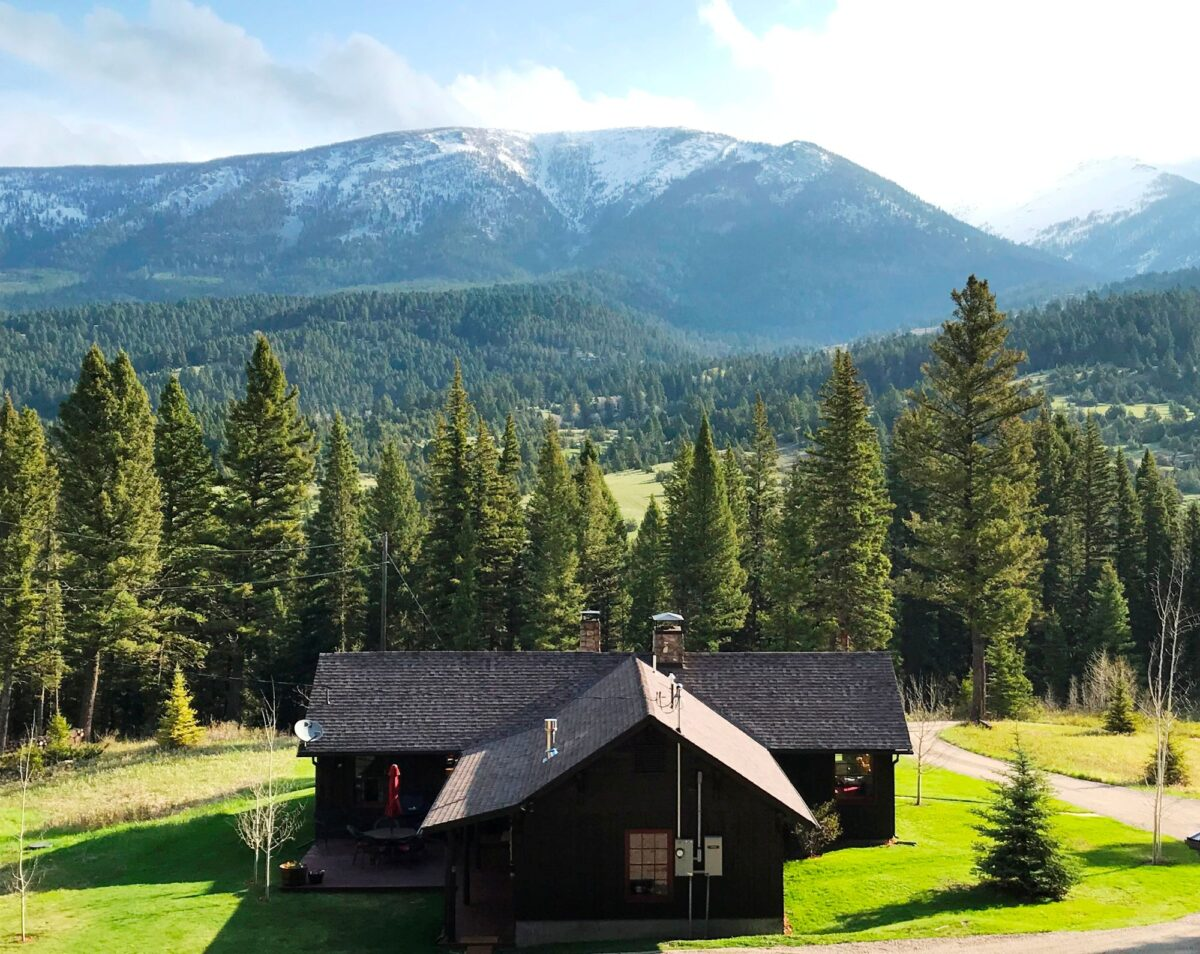 high mountain cabin in the woods